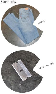 DIY jeans refashion: DIY Distressed Chanel Jeans