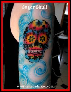 Sugar skull airbrush tattoo in every colour we could possibly fit in to this amazing design.