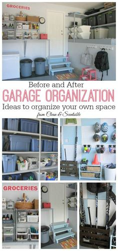 Great ideas to help organize your garage! And you won't believe the before and after pics! // cleanandscentsible.com
