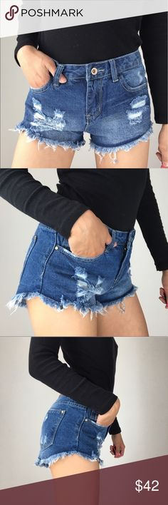 """Distressed short frayed hem The heat is on! Summer time is here. The best casual rebel chic look. Distressed frayed shorts with5 functional pockets. 14.5"""" across.9""""rise. 98%cotton 2%elastane . Soft but hardly any feel of elastane. Quality great fit shorts .Follow me on INSTAGRAM: @chic_bomb and FACEBOOK: @thechicbomb CHICBOMB Shorts Jean Shorts"""