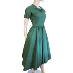 Swing Dress Vintage 1950s Green Rayon Anne Fogarty by Margot Inc offered by Vanity Flair Vintage on Ruby Lane