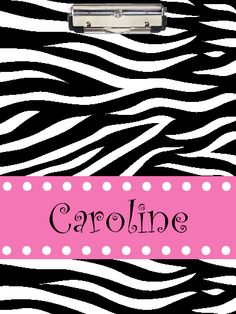 Zebra and Pink Clipboard
