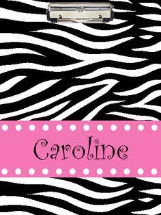 Zebra and Pink Clipboard