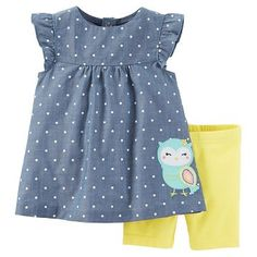 Just One You™Made by Carter's® Toddler Girls' 2 Piece Owl Biker Short Set - Chambray/Yellow : Target Kids Outfits Girls, Little Girl Outfits, Little Girl Fashion, Toddler Girl Outfits, Kids Fashion, Toddler Girls, Baby Girls, Baby Baby, Girls Formal Dresses