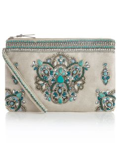 Just pretty to look at; too nice to use... [Jaipur Gem Zip Top Clutch Bag | Blue | Accessorize]