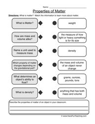 properties of matter worksheet 2