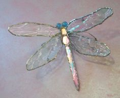 Iridized Stained Glass Dragonfly by MaineGlassDesign on Etsy, $50.00