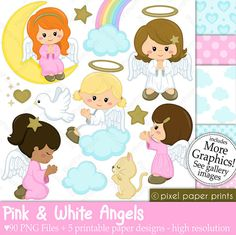 Pink and White Angels - Digital paper and clip art set