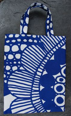Blue Siirtolapuutarha Shopping Tote, bag, from Marimekko fabric, 11 x 9 inches, Finland