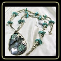 Sterling Silver Necklace with Oversized Pendant with Turquoise Nuggets