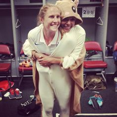 """Jill Loyden's instagram: """"in case you were wondering what we do after games. Obviously dress as flying squirrels."""" Rachel Buehler & Sydney Leroux, USWNT"""