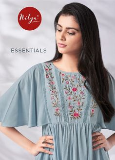 Nitya Essentials Vol 1 by LT Fabrics Designer Stylish Fancy Rayon with Embroidery Work Short Readymade Kurti Tops at Wholesale Rate Embroidery On Kurtis, Hand Embroidery Dress, Kurti Embroidery Design, Embroidery Fashion, Short Kurti Designs, Kurta Designs Women, Salwar Designs, Fancy Kurti, Stylish Hijab