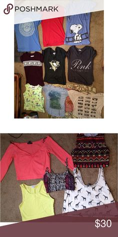 Bundle of 14 tops including crop tops They are all pre owned with different brands size small, xsmall and medium Obey Tops Crop Tops