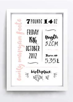 Birth Infomation Poster Printable by LittleOakInk on Etsy Letter Board, Announcement, Birth, Printables, Handmade Gifts, Poster, Etsy, Future, Kid Craft Gifts