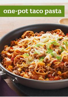 """One-Pot Taco Pasta -- With """"one-pot,"""" """"taco"""" and """"pasta"""" in the title, is there any doubt that this healthy living recipe will be a winner at your house? Everyone's favorite flavors make for a foolproof meal."""