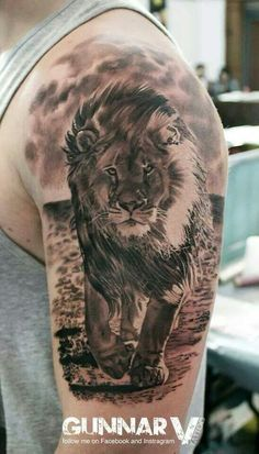 - Lion – lion – - Tattoo masculina de leão em realismo no braço (fechamento de braço). Trendiest Body Tattoos Designs You Should Try Wolf Tattoos, Lion Head Tattoos, Animal Tattoos, Body Art Tattoos, Tatoos, Tattoo Now, Cat Tattoo, Lion Tattoo Sleeves, Sleeve Tattoos
