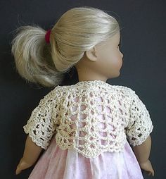 American Girl Doll Clothes - Crocheted Cotton Shrug - Natural. $10.00, via Etsy.