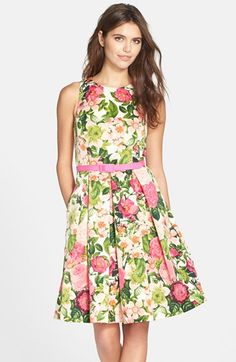Eliza J Belted Print Faille Fit & Flare Dress (Regular & Petite) available at #Nordstrom