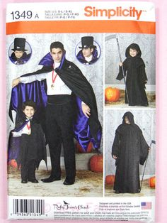 Simplicity 1349 Sewing Pattern Boys' and Men's Capes/Cloaks Halloween – Sew Fabric - Dressmaking Creativity & Excellence