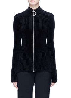 a0bb8296aa4d EMILIO PUCCI Glass crystal embellished O-ring zip chenille cardigan.   emiliopucci  cloth