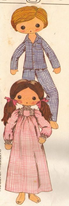 Vintage Big Eyed Boy and Girl Doll With Clothes Pattern