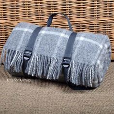 Clic Country Grey Check Waterproof Backed Wool Picnic Blanket Or Rug Wit