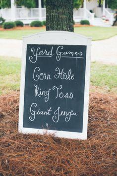 Yard Games Sign: Corn Hole, Ring Toss, Giant Jenga