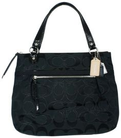 Click Image Above To Purchase: Coach Poppy Metallic Signature Sateen Glam Bag Tote Black