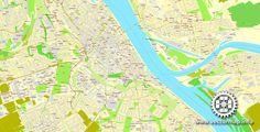 Vector MapMainz/Wiesbaden, Germany, printable vector street map, City Plan, full editable, Adobe Illustrator, Royalty free, full vector, scalable, editable, text format street names, 13,3 mb ZI…