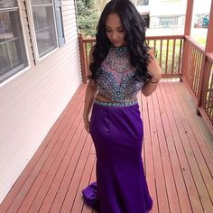 "Prom Dress Purple two- piece gown. Top is embroidered diamonds and teal, gold, and iridescent beads. Worn once, great quality.  Model is 5'2"" and is wearing 3 inch heels. Dresses"