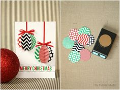 Christmas Card Tutorials + Free Printables {HGTV @ Ashlea Mayo, now we know what to do with all those circles we stole! Modern Christmas Cards, Christmas Card Crafts, Homemade Christmas Cards, Christmas Cards To Make, Handmade Christmas, Homemade Cards, Holiday Cards, Christmas Holidays, Merry Christmas