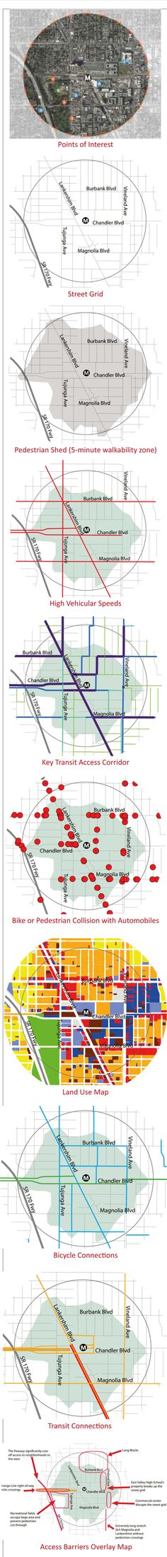 Here's a sequence ofmaps showing a stretch ofNorth Hollywood, adaptedfrompp. 20-21 of the exemplaryFirst Last plan Strategic Plan & Planning Guidelines published by LA Metro in March 2014....
