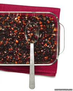 Add mushrooms, carrots, celery, and cranberries, and ginger to black-grain Forbidden Rice for this tasty dish, Wholeliving.com #meatless #vegetarian
