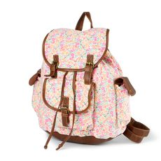 Floral Striped Backpack   Claire's