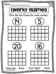 20 Frame differentiated worksheets!!