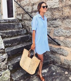 Summer Fashion Essentials From hush « instyles. Mode Outfits, Casual Outfits, Fashion Outfits, Dress Casual, Casual Clothes, Mode Instagram, Workout Tops For Women, Blue Shirt Dress, Mini Vestidos