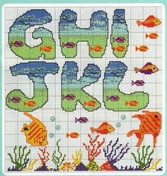 Cross-stitch Underwater ABCs, part 2..  color chart on part 4...   Gallery.ru / Фото #179 - 3 - KIM-3