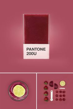 hedvig a kushner has created 'pantone smoothies', a series of coded juices that correlate to the palette matching system. Pantone Colour Palettes, Pantone Color, Color Patterns, Color Schemes, Pantone Universe, Colour Pallette, Colour Board, Food Design, Marsala
