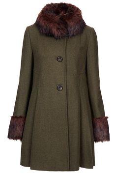 Fur Trim Hooded Woollen Rockabilly Stone Duffle Coat
