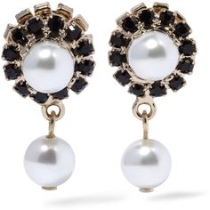 Givenchy Earrings in gold-tone, faux pearl and Swarovski crystal ($480) ❤ liked on Polyvore featuring jewelry, earrings, acessorios, black, givenchy, faux pearl stud earrings, givenchy earrings, gold tone jewelry and holiday jewelry