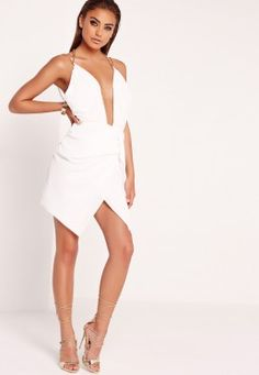 Peace + Love Pleated Chain Strap Wrap Dress White