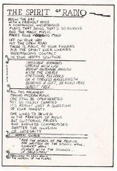 Rush band lyrics spirit of the radio Rush Lyrics, Great Song Lyrics, Papa Roach, Breaking Benjamin, Garth Brooks, Sara Bareilles, Radios, Rush Music, Rush Concert