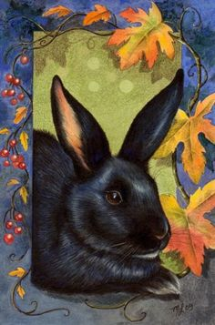 4x6 Inch Print Black Bunny Rabbit Art  by Melody Lea Lamb, 14.99  MelodyMiniArt