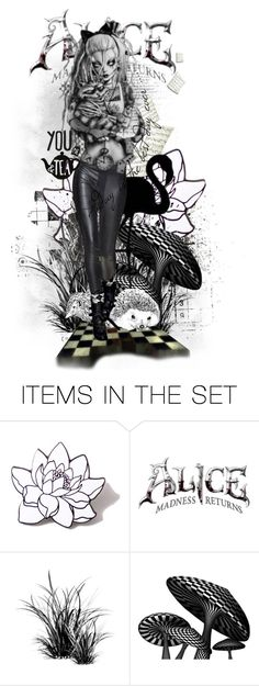 """""""Flamingos & Hedgehogs"""" by gailwind ❤ liked on Polyvore featuring art, illustrations, doll, blackandwhite, aliceinwonderland and gailwind"""