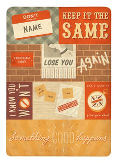 """Love mix of fonts, directions, brick, hand drawn rays on """"good"""""""