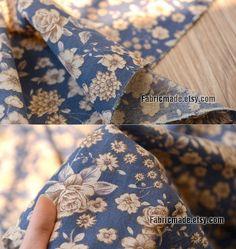Vintage Flower Fabric Flower Linen Blend Fabric With par fabricmade