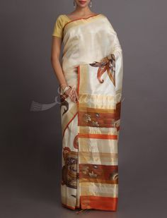 Rohini Paisley Pure Passion Hand Painted Pure #KosaSilkSaree