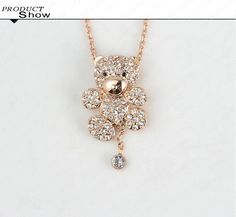 Bear Necklace Austrian Crystal Sweater Necklace