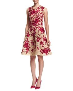 TBP2H Naeem Khan Embroidered Fit-&-Flare Dress, Natural/Red
