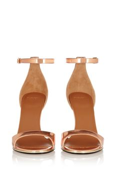 Givenchy | Mirrored-leather sandals in rose gold  | NET-A-PORTER.COM